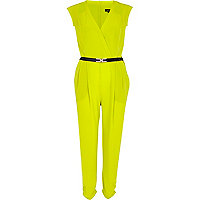Lime belted jumpsuit