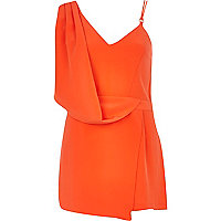 Orange asymmetric skort playsuit