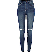 Mid wash ripped knee Lana superskinny jeans
