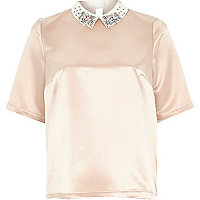 Beige embellished collar silky top