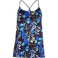 Blue floral print longline cami top