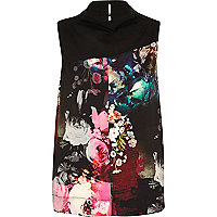 Black contrast graphic print high neck top