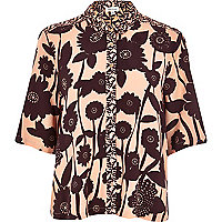 Orange floral print boxy shirt