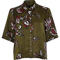 Khaki floral print boxy shirt