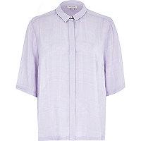 Lilac collar clasp boxy shirt