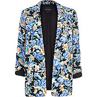 Navy floral print blazer