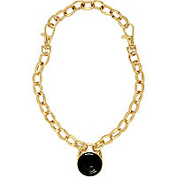 Gold tone chunky chain pendant necklace