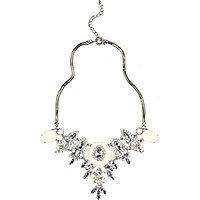 Silver tone gemstone encrusted necklace