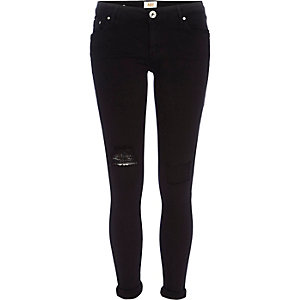 Black ripped Cara superskinny reform jeans