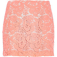Coral lace mini skirt
