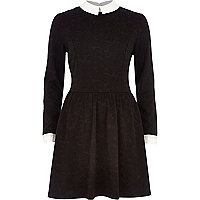 Black jacquard collared fit and flare dress