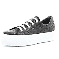 Black snake print lace up flatform trainers