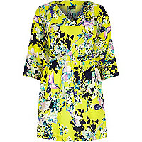 Yellow floral print kimono sleeve dress