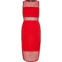 Red mesh column dress