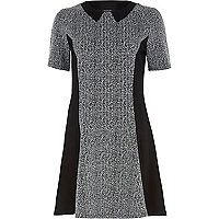 Grey marl panelled fit and flare dress