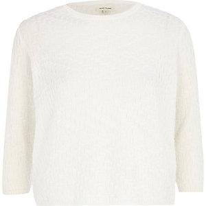 White pattern knit crop top