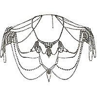 Gunmetal tone gemstone jewelled cape