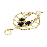 Gold tone black gemstone hand harness