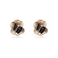 Gold stone 3D flower stud earrings