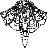 Black art deco jewelled cape