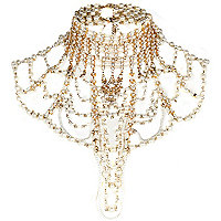 Gold tone pearl Art Deco jewelled cape