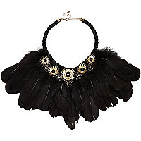 Black embellished feather necklace