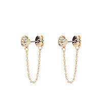 Gold tone diamante embellished chain earrings