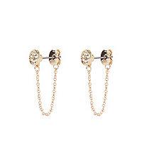 Gold tone diamante embellished chain earrings