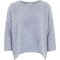 Blue boucle knitted top