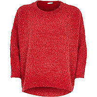 Red boucle knitted top