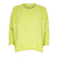 Lime boucle knitted top