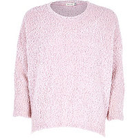 Light pink boucle knitted top