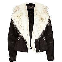 Black mock suede faux fur collar biker jacket