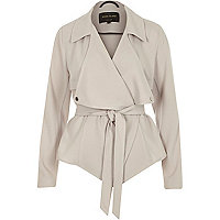 Grey cropped drape trench jacket
