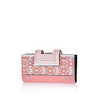 Pink jacquard print clip top purse