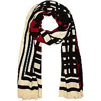 Cream graphic print square scarf
