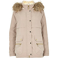 Light beige faux fur trim parka jacket
