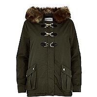 Khaki faux fur buckle parka coat
