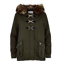 Khaki faux fur buckle parka coat