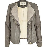 Grey leather collarless biker jacket