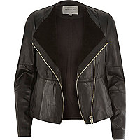 Black leather collarless biker jacket