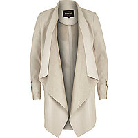 Beige leather-look draped waterfall jacket