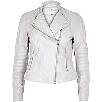 Light beige leather biker jacket