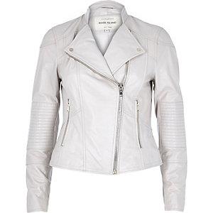 Light beige leather biker jacket