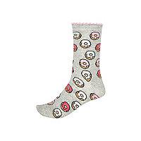 Grey doughnut print ankle socks