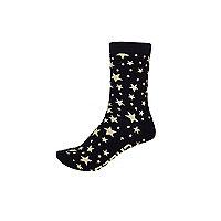 Navy star print ankle socks