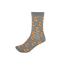 Grey fox print ankle socks