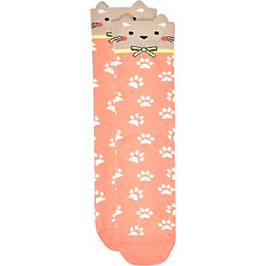 Coral cat print ankle socks