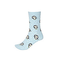 Blue penguin print ankle socks