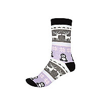 Grey fair isle novelty ankle socks